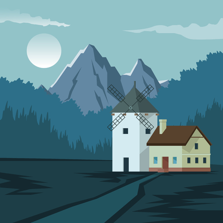 colorful background with night landscape of mountain and house with windmill vector illustrationのイラスト素材