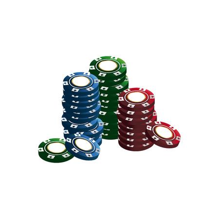casino chips stacks pile poker image vector illustration