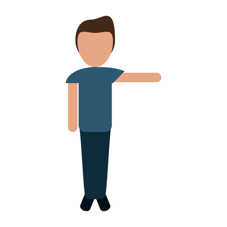 faceless person with stretched arm icon image vector illustration design