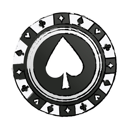 casino chip vintage style ace poker game icon vector illustration