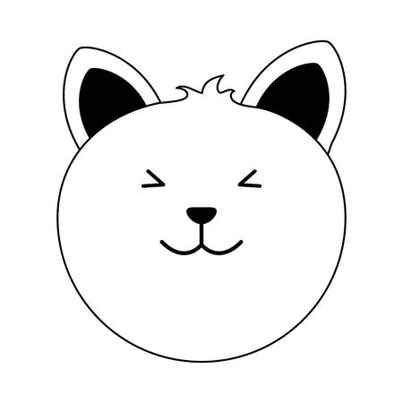 cat cartoon pet animal icon image vector illustration design  black line