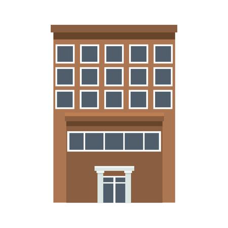 business building center facade office exterior column vector illustration