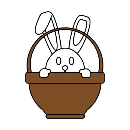 Flat line bunny in basket with a hint of color over white background