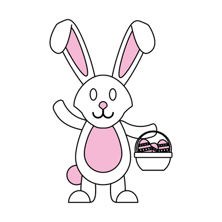 Flat line bunny basket and easter eggs with a hint of color over white background