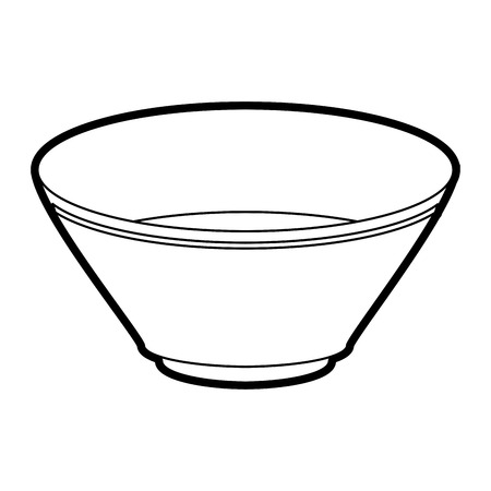 Flat line uncolored bowl over white background vector illustration