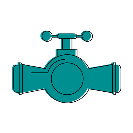 valve and handle with pipe icon image vector illustration design  blue color