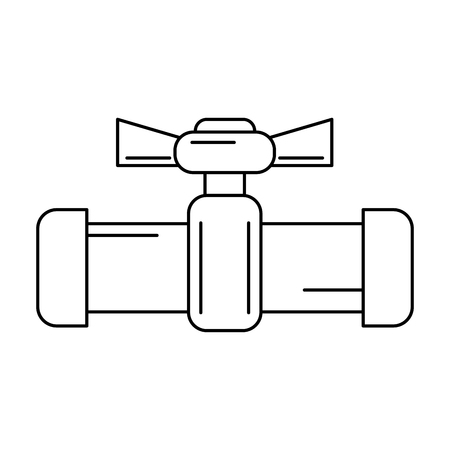 valve and handle with pipe icon image vector illustration design  black and white