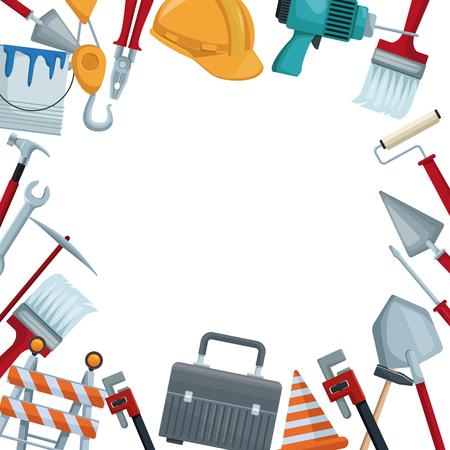 Illustration pour white background with colorful border icons of tools contruction vector illustration - image libre de droit