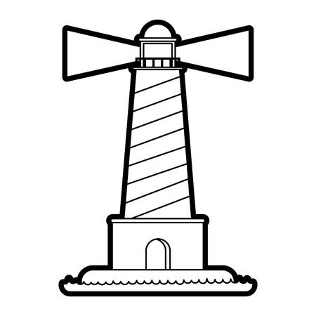 Lighthouse icon Sea coast ocean and water theme Isolated design Vector illustration