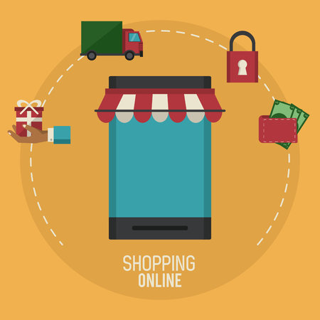 Shopping online business icon vector illustration graphic design