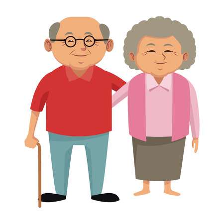 Illustration pour Cute grandparents couple cartoon icon vector illustration graphic design - image libre de droit