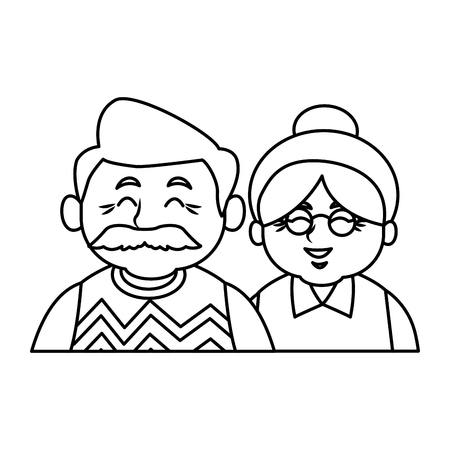 Illustration for Cute grandparents couple cartoon icon vector illustration graphic design - Royalty Free Image