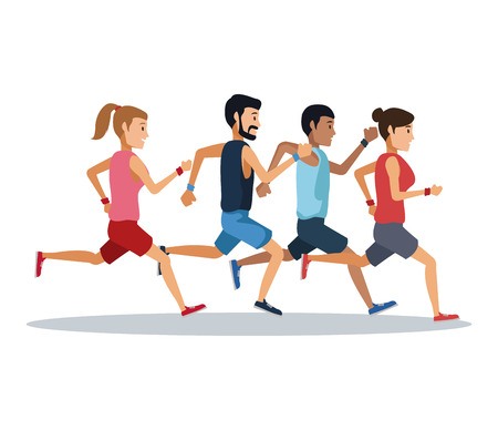 Foto für People running over white background icon vector illustration graphic design - Lizenzfreies Bild