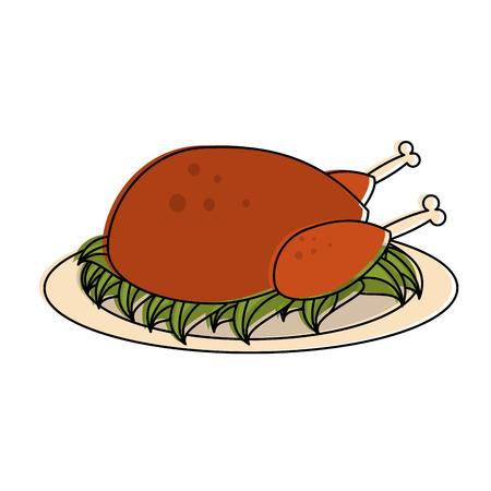 Roast Chicken Food Icon Vector Illustration Graphic Design Royalty