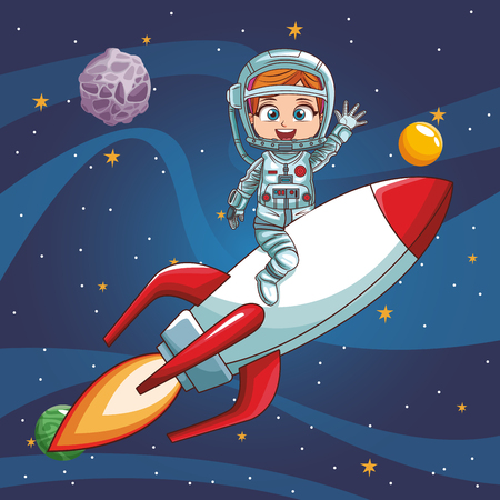 Illustration pour Girl astronaut flying on spaceship vector illustration graphic design - image libre de droit