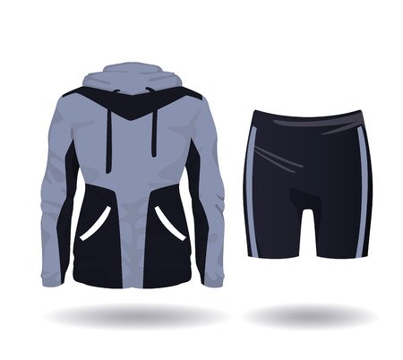Illustration pour Fitness sport wear jacket and short for female vector illustration graphic design - image libre de droit