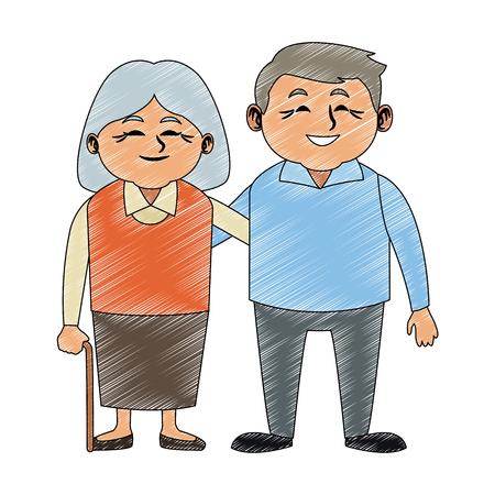 Illustration pour Cute grandparents couple cartoon vector illustration graphic design - image libre de droit