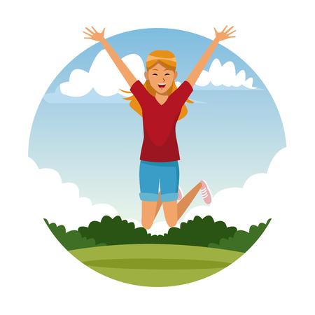 Happy woman jumping at park cartoon vector illustration graphic design