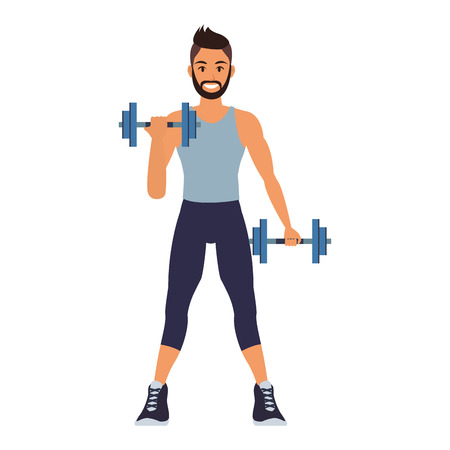 Photo for Fitness man lifting weights vector illustration graphic design - Royalty Free Image