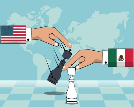 Ilustración de Mexico and USA trade war concept vector illustration graphic design - Imagen libre de derechos