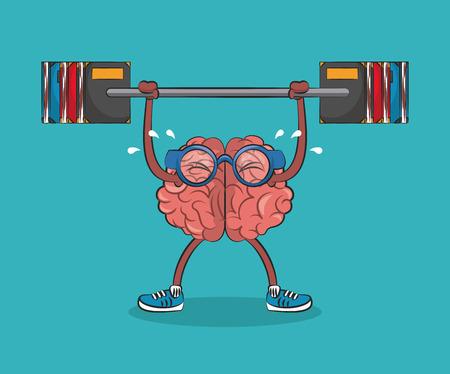 Illustration pour Cute and funny brain lifting books cartoon vector illustration graphic design - image libre de droit