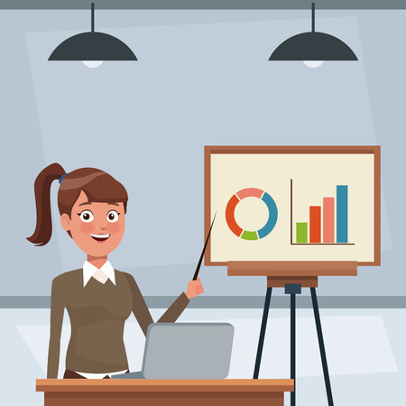 Ilustración de Business woman working at office vector illustration graphic design - Imagen libre de derechos