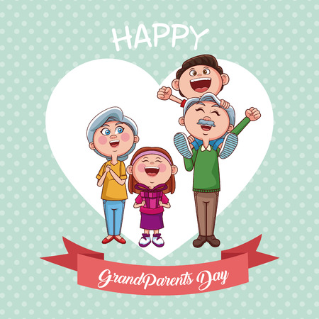 Illustration for Happy grandparents day with nephew and niece cartoons vector illustration graphic design - Royalty Free Image