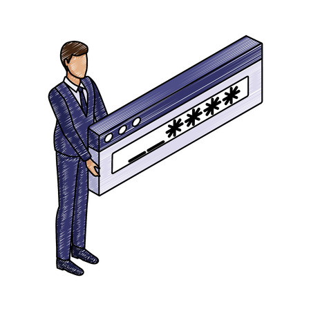 Businessman with password vector illustration graphic design