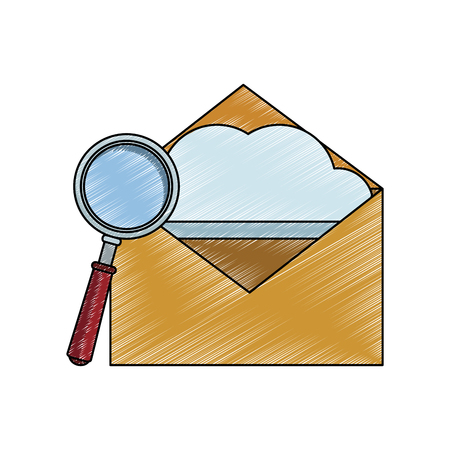Email open and magnifying glass vector illustration graphic design