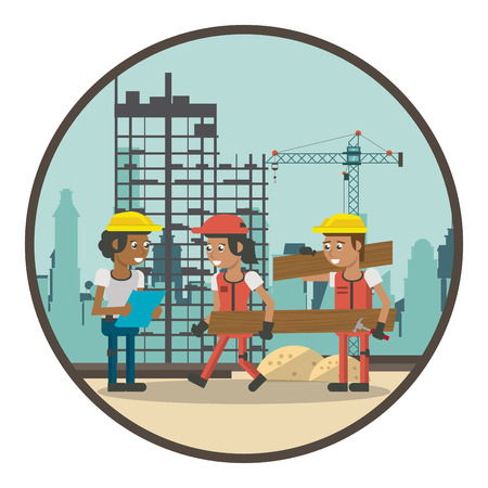 Illustration for Geometric workers at construction zone cartoons round icon vector illustration graphic design - Royalty Free Image
