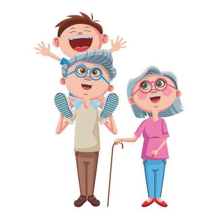 Illustration for Grandparents and grandson cartoon vector illustration graphic design - Royalty Free Image