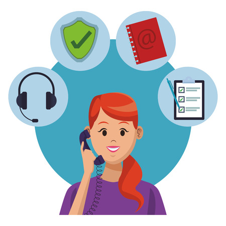 Costumer Support Services Woman With Telephone Assistant Tools Headset Protection Icon Address Book Checklist Colorful In White Background Vector Illustration Graphic Design Royalty Free Vector Graphics