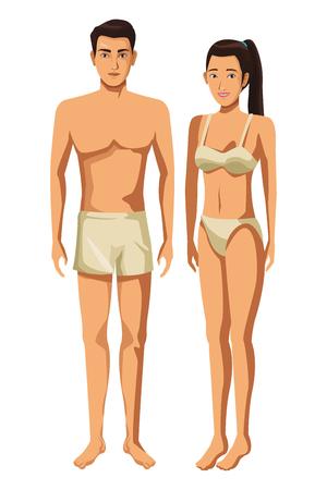 Ilustración de coupple in underwear full body in white background vector illustration graphic design - Imagen libre de derechos