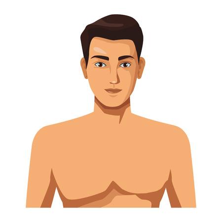 Ilustración de man naked half body in white background vector illustration graphic design - Imagen libre de derechos