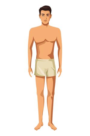 Ilustración de man with underwear full body in white background vector illustration graphic design - Imagen libre de derechos