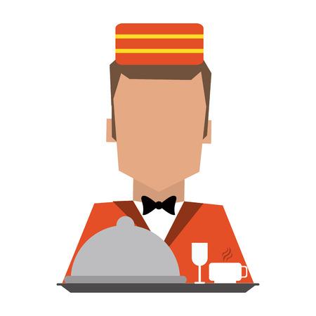 Illustration pour bellboy with dis dome and cups avatar vector illustration graphic design - image libre de droit