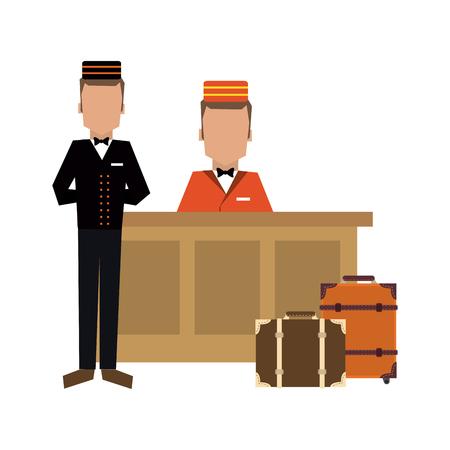 Illustration pour Bellboy with luggage at reception vector illustration graphic design - image libre de droit