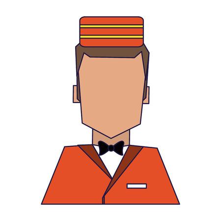 Illustration pour bellboy hotel avatar profile vector illustration graphic design - image libre de droit