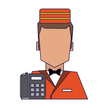 Illustration pour bellboy and telephone avatar symbol vector illustration graphic design - image libre de droit