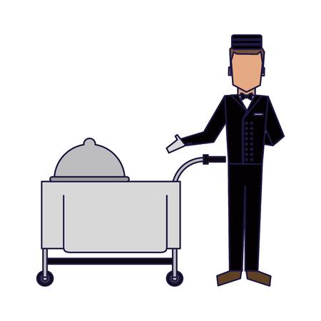 Illustration pour bellboy with restaurant food cart vector illustration graphic design - image libre de droit