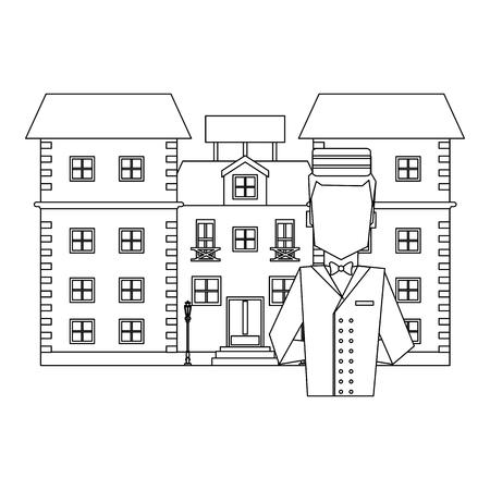 Illustration pour bellboy avatar with hotel building vector illustration graphic design - image libre de droit