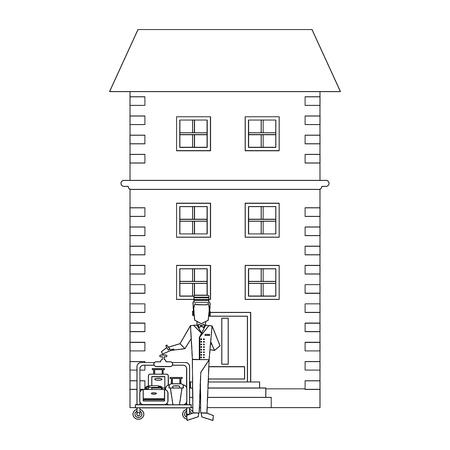 Illustration pour bellboy with luggage outside hotel building vector illustration graphic design - image libre de droit