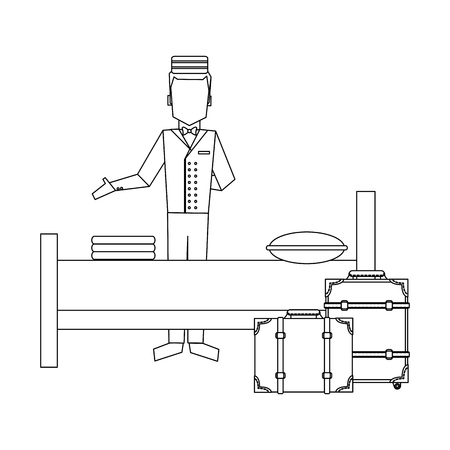 Illustration pour Bellboy with luggage and hotel bed vector illustration graphic design - image libre de droit