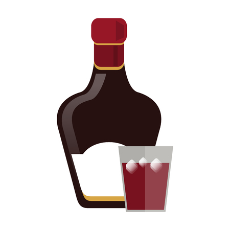 Alcohol bottle with cocktail shot vector illustration graphic design