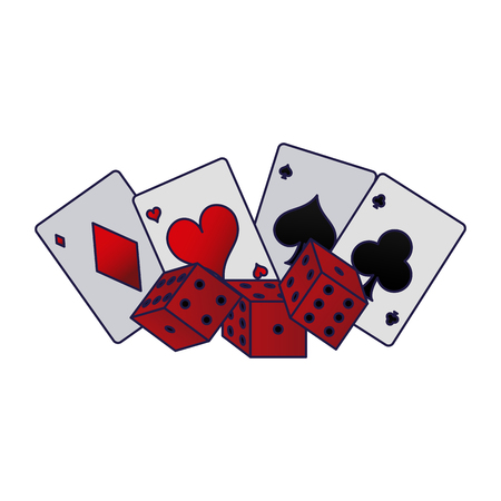 Poker cards and dices games vector illustration graphic design