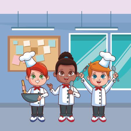 Illustration for cute chef children inside kitchen cartoon vector illustration graphic design - Royalty Free Image