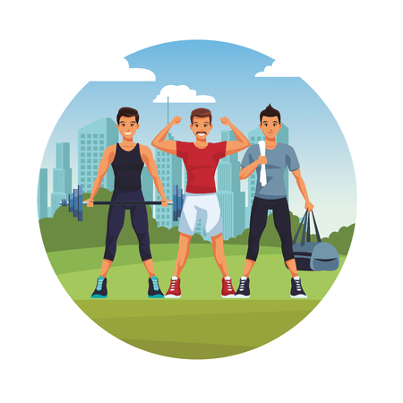 fit men doing exercise in the park cartoon vector illustration graphic design