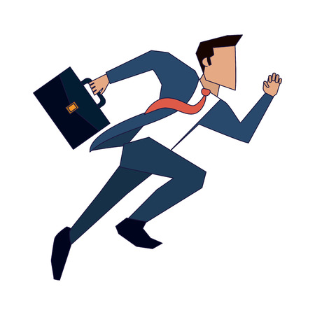 Illustration for businessman running with briefcase vector illustration graphic design - Royalty Free Image
