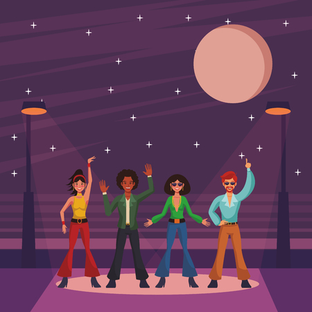 Illustration for Disco people band dancing and singing on street cartoons vector illustration graphic design - Royalty Free Image