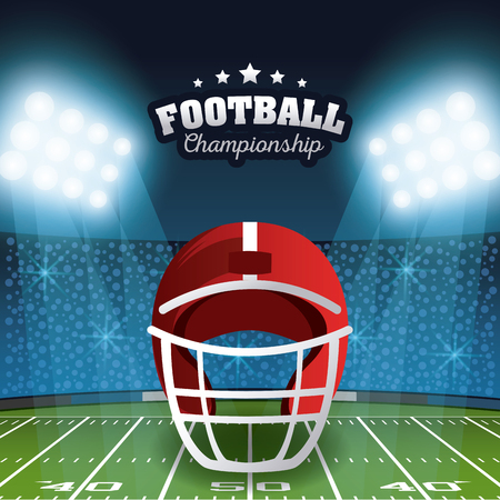 Illustration pour American football championship poster stadium field scenery with lights vector illustration graphic design - image libre de droit